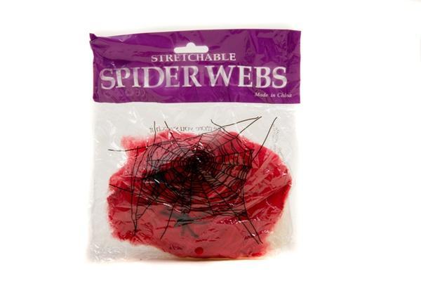 Паутина цветная с пауками (красная)   Артикул: 03210042