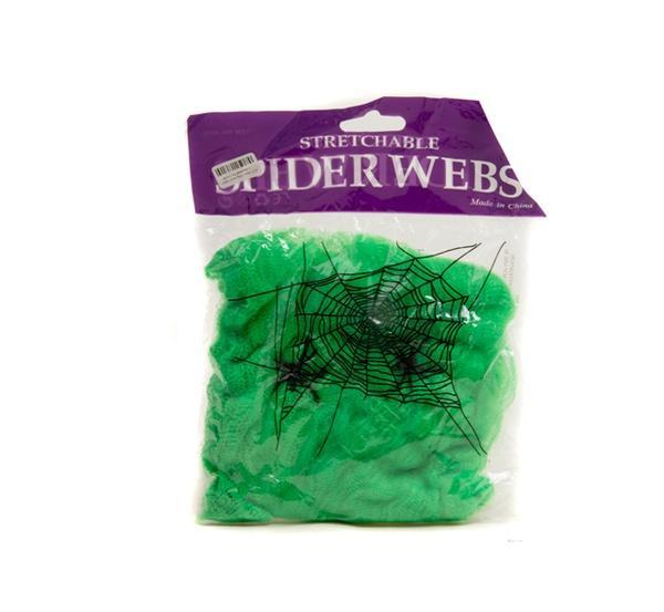 Паутина цветная с пауками (зеленая)   Артикул: 03210041
