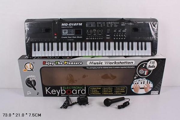 Орган MQ-012FM (18шт/2) от сети, 61 клавиша, с микрофоном, фм радио, в кор. 73*21*7,5см   Артикул: 05000012