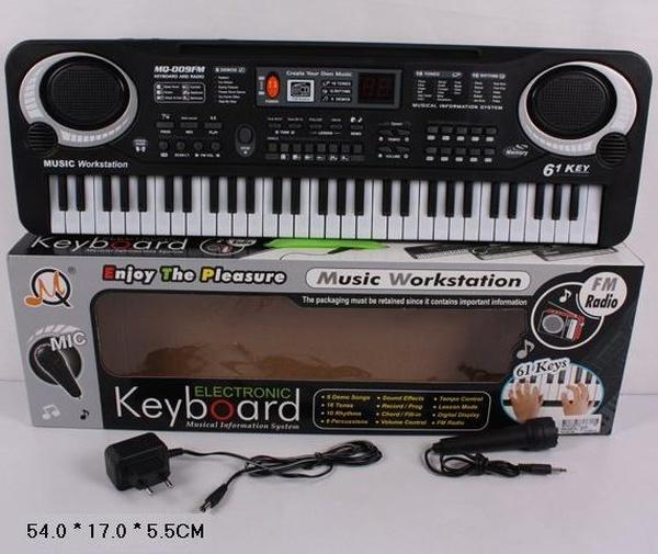 Орган MQ-009FM (36шт/2) от сети, 61 клавиша, с микрофоном, фм радио, в кор. 54*17*5,5см   Артикул: 05100009