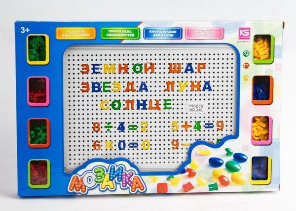 Мозаика 330 (60шт/2) Буквы, цифры, в коробке 39*25*3см   Артикул: 06000330