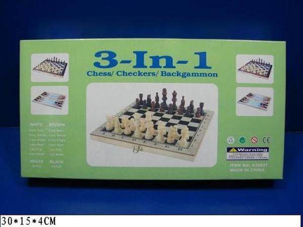 "Шахматы деревянные  A33027 (72шт/2) ""3в1"", шашки, нарды, в коробке 30*15*4см   Артикул: 06033027"