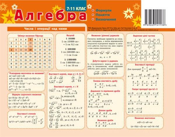 Картонка - підказка Алгебра 20*30 см   Артикул: 06141138