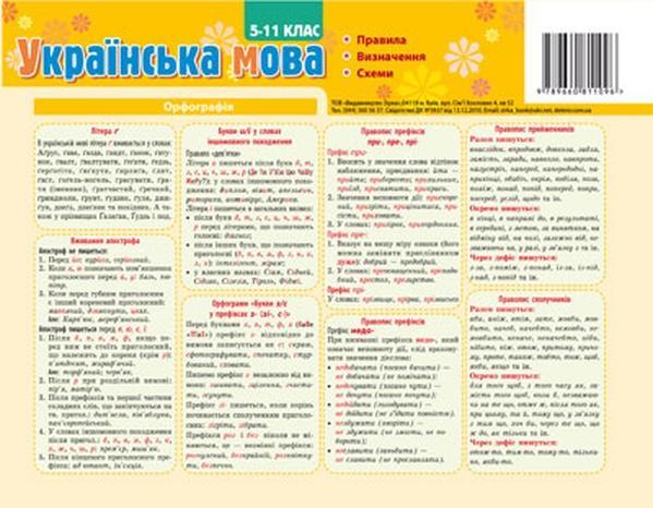 Картонка-підказка Укр. мова. Правила 20*30 см   Артикул: 06811096