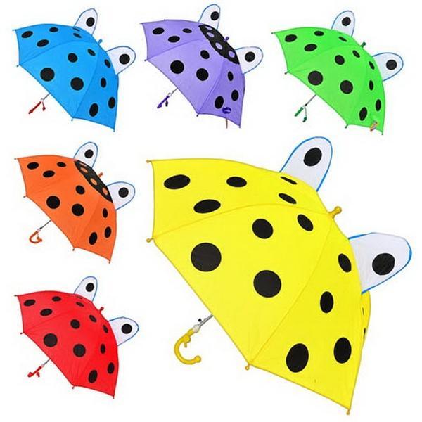 Зонтик детский MK 0211 (60шт) длина47,5см,трость59см,диам.78см,спица44см,ушки,ткань,6цветов   Артикул: 08000211