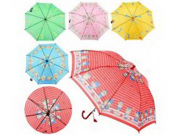 Зонтик детский MK 0355 (60шт) длина47,5см,трость59см,диам.76,5см,спица44см,ткань,рисун,5видов,   Артикул: 08000355