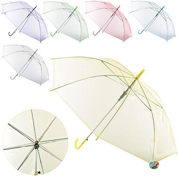 Зонтик детский MK 0518 (60шт) длина60,5см,трость71см,диам.92см,спица54см,клеенка,прозр,6цвет,   Артикул: 08000518