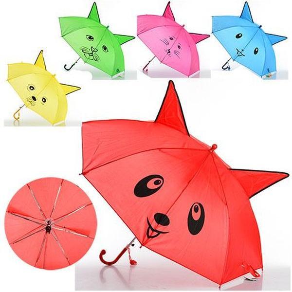 Зонтик детский MK 0519 (60шт) длина47см,трость59см,диам.78см,спица44см,ушки,ткань,рисун,3вид,5цв   Артикул: 08000519