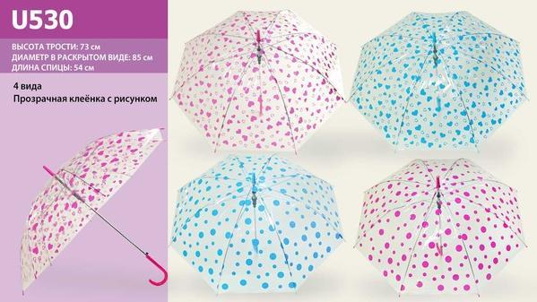 Зонт U530 (100шт) 4 вида, прозрачная клеенка, в пакете 50 см   Артикул: 08000530