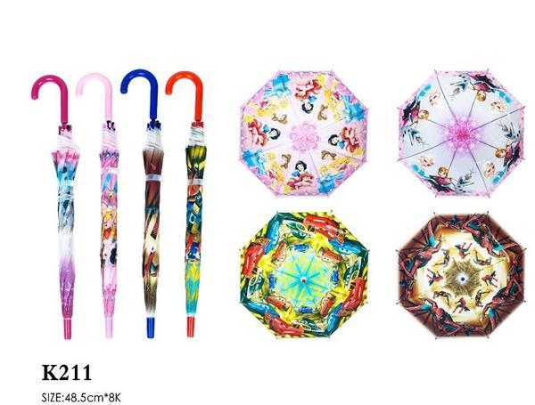 Зонт K211 (60шт/5) 4 вида, м/г, в пакете 49 см   Артикул: 08010211