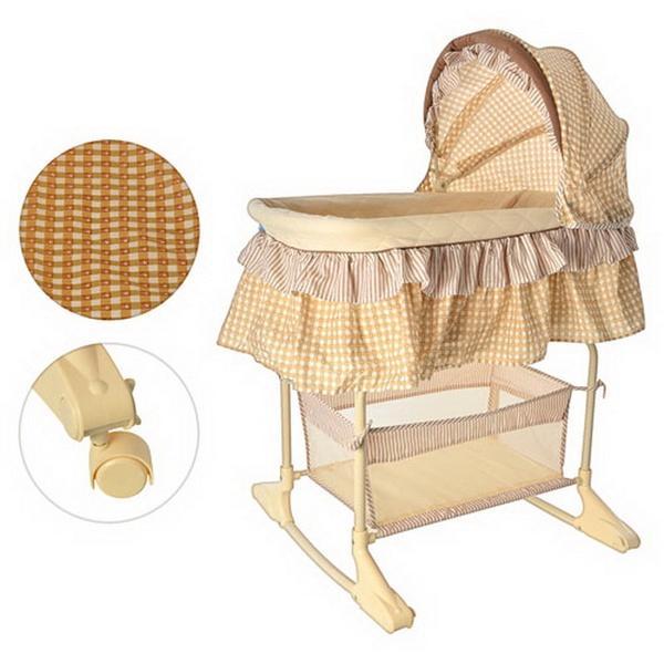 Кровать детская M 1542 (1шт) качалка, колеса 4шт, крыша, корзина, бежевый, в кор-ке, 87-120-46см   Артикул: 08221542