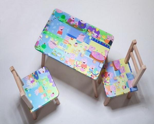 """Столик + 2 стульчика """"ТИПА СВИНКА ПЕПА"""" (размер 600*460)   Артикул: 08482029"""