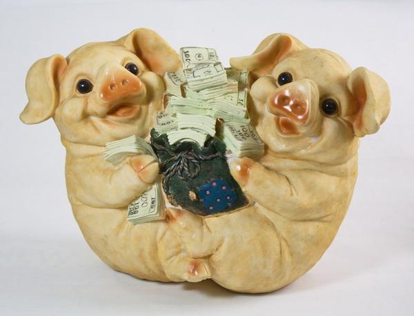 Копилка свинья (две вместе с мешком и деньгами) (33см)   Артикул: 10000013