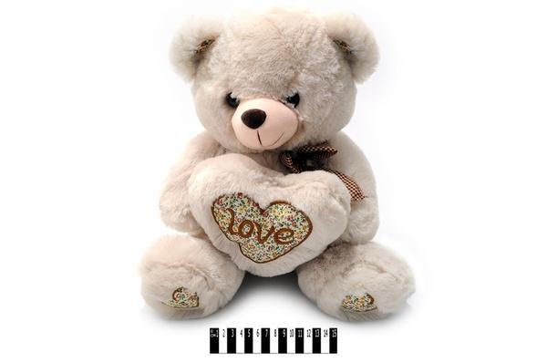 Ведмедик сірий з серцем муз. 3907G/38 (18шт/ящ)   Артикул: 10003907