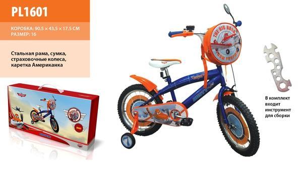 """Велосипед 2-х колес 16"""" PL1601 (1шт) со звонком,зеркалом,вставками в колесах   Артикул: 11001601"""