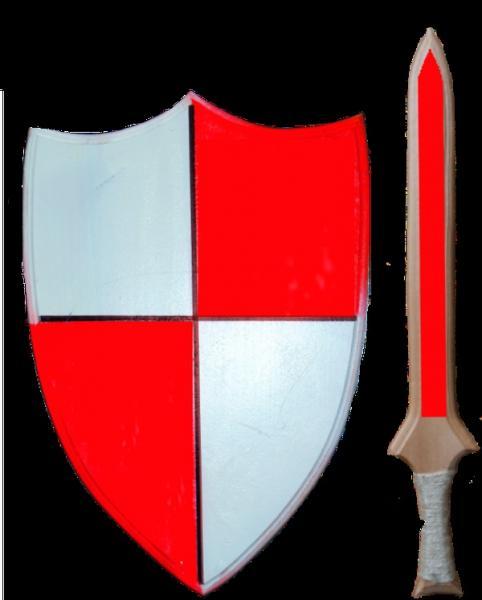"""Набір зброї іграшковий """"Лицарський"""" 2 предмета- щит фігурний червоно-білий 23*40см+меч 45см   Артикул: 13171988"""