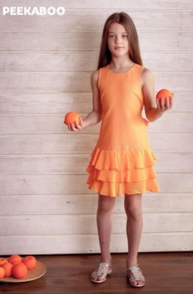 Платье Peekaboo оранж.джинс+шифон (1590)   Артикул: 14201590