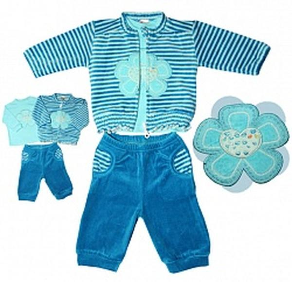 "Комплект ""Цветы"" д/д (джемпер+блуза хлопок+брюки) синий велюр -80 см   Артикул: 14904080"