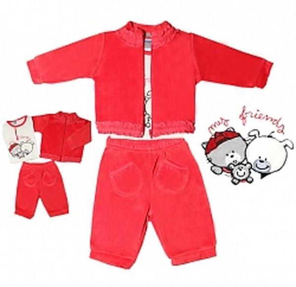 """Комплект """"Три мишки"""" д/д (джемпер+блуза хлопок+брюки) красный велюр -74 см   Артикул: 14904274"""