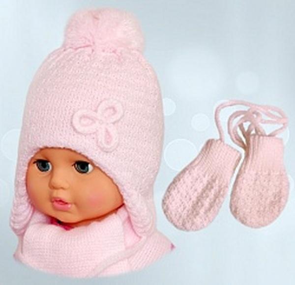 """Комплект """"Марыська"""" (шапка+шарф+варежки) для девочки (0-3) KPL-103 -42 см   Артикул: 14983842"""