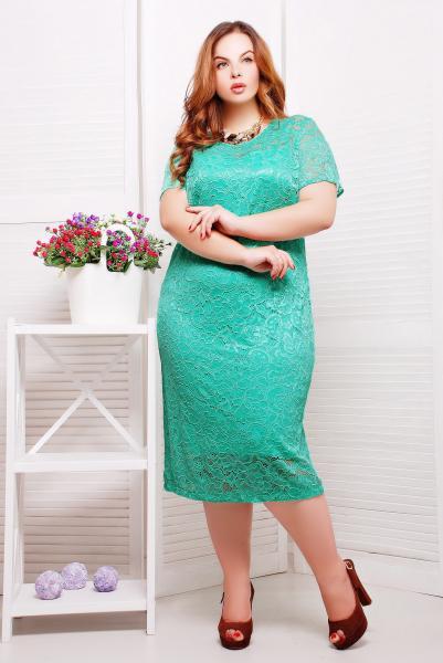 Платье из гипюра с подкладкой цвет бирюзовый  ЛЮЧИЯ