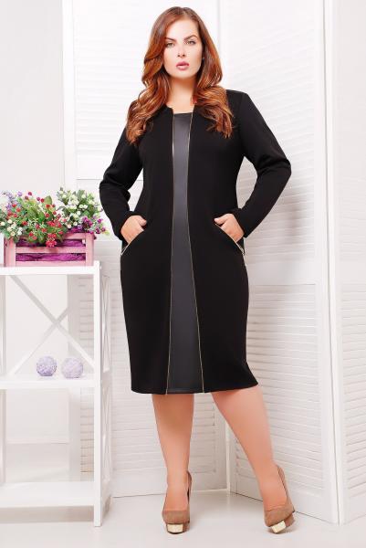 Платье элегантное с кожаным декором цвет черный  АРИНА