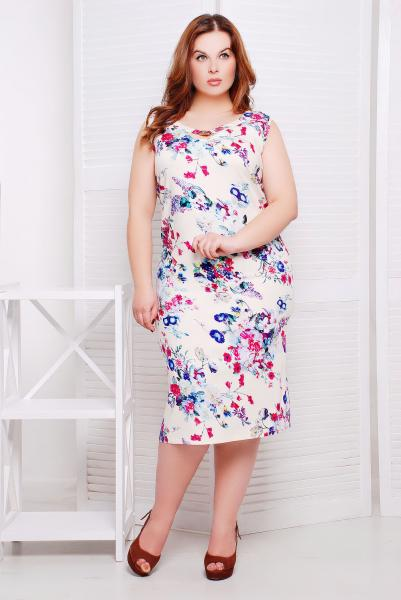 Платье льняное с малиновым принтом цвет белый  АМАНДА