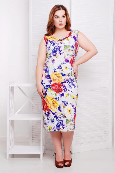 Платье льняное с фиолетовым принтом цвет белый  АМАНДА