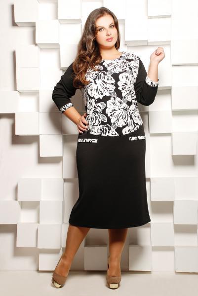 Платье черное комбинированное с белым принтом  СОФИЯ