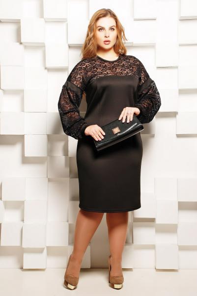 Платье однотонное с гипюровым декором цвет черный  БЕТТИ