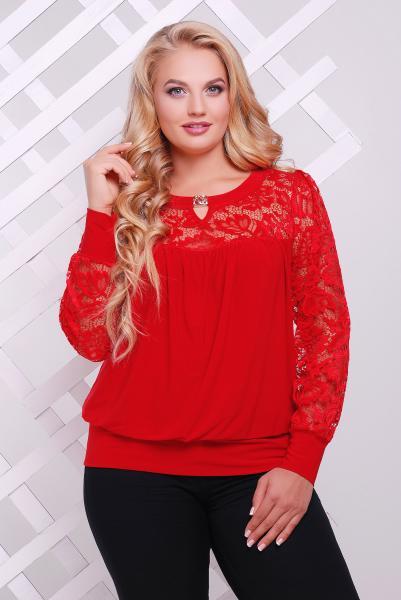 Блузон красный декорированный гипюром  ЛИНА