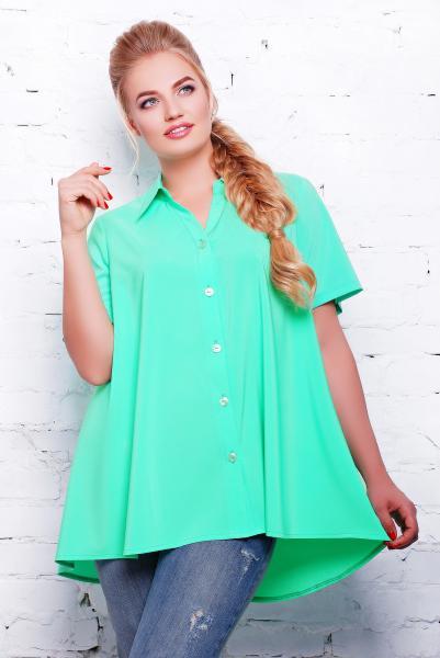Блуза -клеш цвет бирюзовый  КЛИО