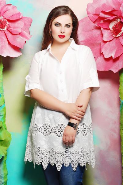 Блуза из батистового шитья цвет белый  ИВАННА