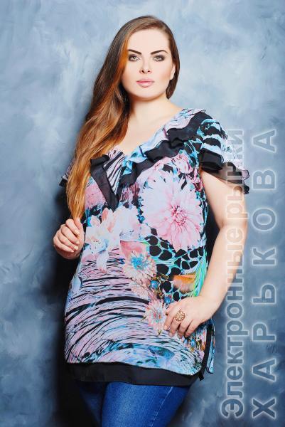 Блуза с воланом цвет черный  КАРИНА - Блузки и туники женские на рынке Барабашова