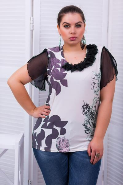 """Блуза с рукавом """"крылышко"""" цвет сиреневый  ВИКА"""