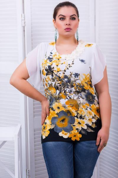 """Блуза с рукавом """"крылышко"""" цвет желтый  ВИКА"""