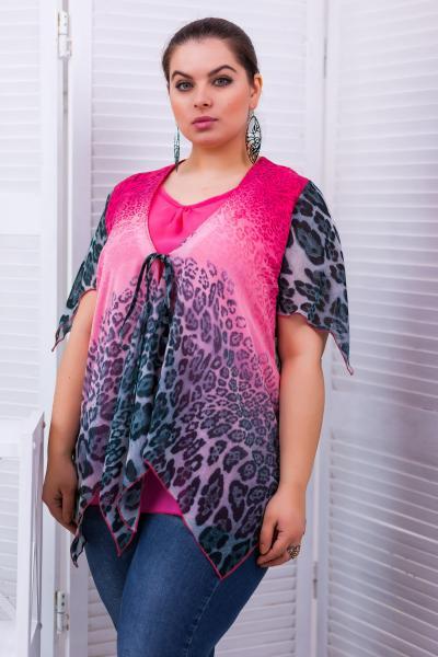 Блуза из купонной ткани цвет ярко-розовый  ЕВА