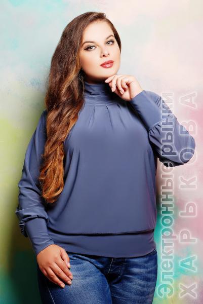 Гольф со сборкой цвет серый  СБОРКА - Женская трикотажная одежда на рынке Барабашова