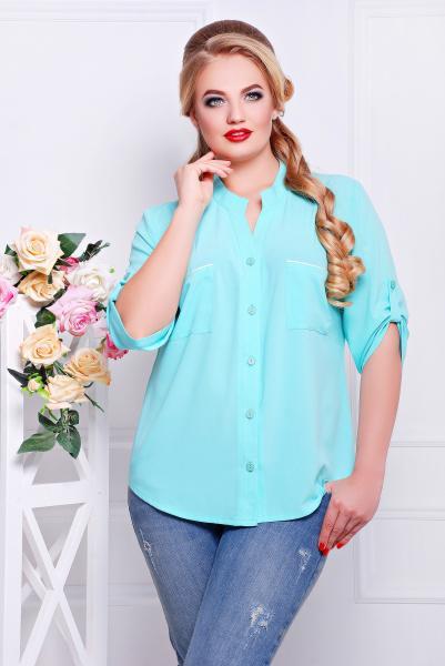 Рубашка с кружевом бирюзовая  МИЛА