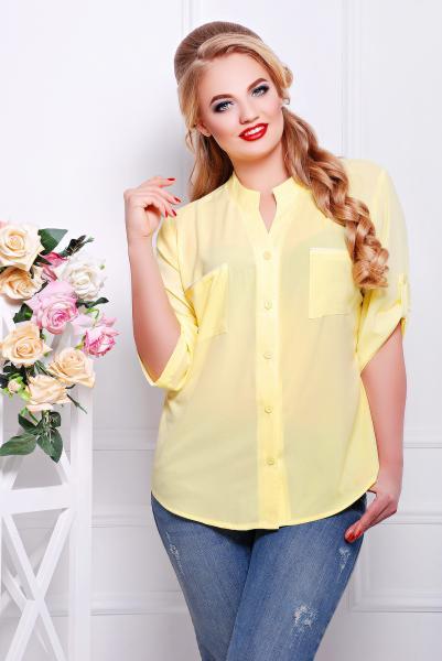 Рубашка с кружевом желтая  МИЛА