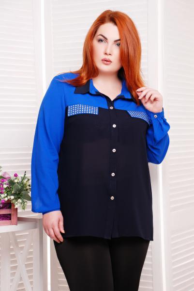 Рубашка с декором цвет синий  ВЕНДИ