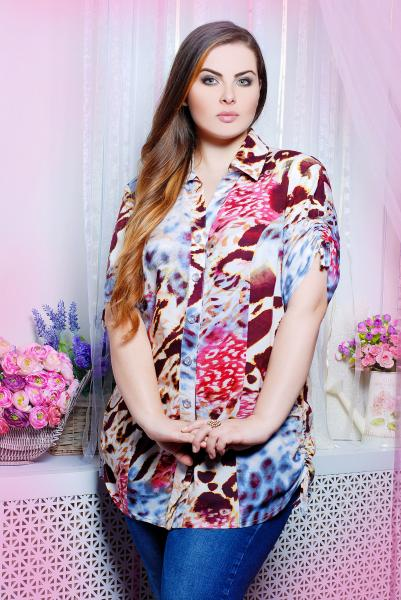 Рубашка с кулисками цвет голубой  ВЕРЕВКА