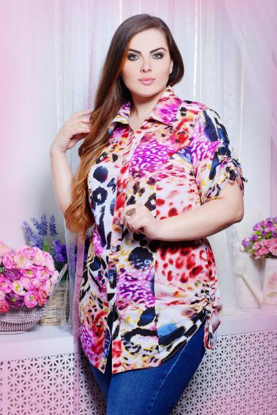 Рубашка с кулисками цвет розовый  ВЕРЕВКА
