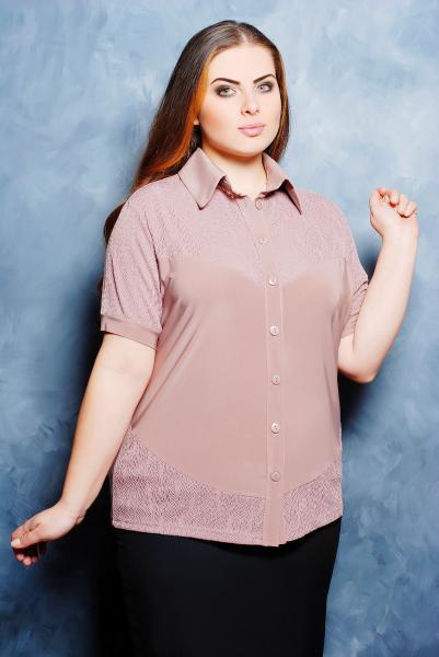 Рубашка с ажурной кокеткой цвет бежевый  НАСТЯ