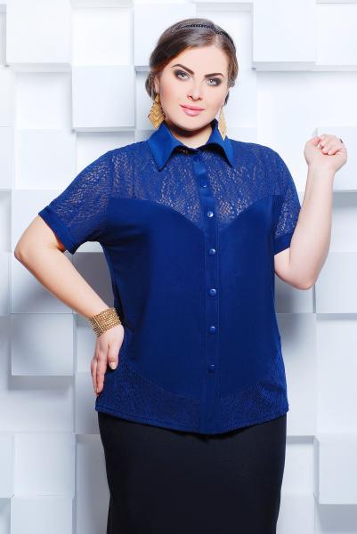 Рубашка с ажурной кокеткой цвет синий  НАСТЯ