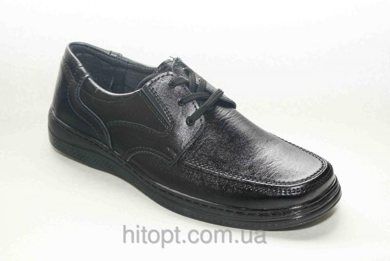 Roksol T-2 чёрный, туфель на шнурках с резинками