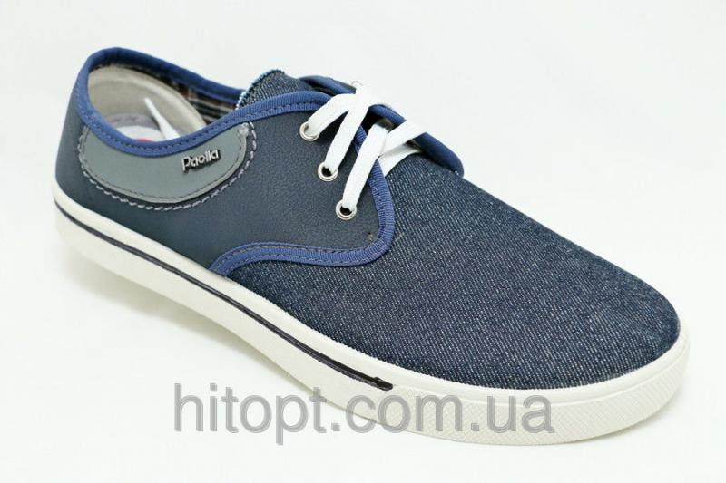 Paolla - 115 синий, макасин - коттон на шнурке