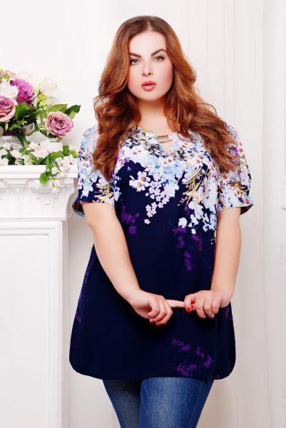 Туника с цветочным принтом цвет темно-синий  ЮЛИЯ