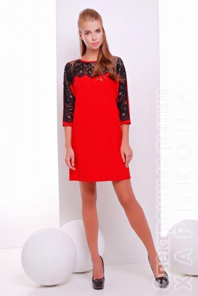 Платье коктейльное с кружевом красное  ZARA - Коктейльные платья на рынке Барабашова