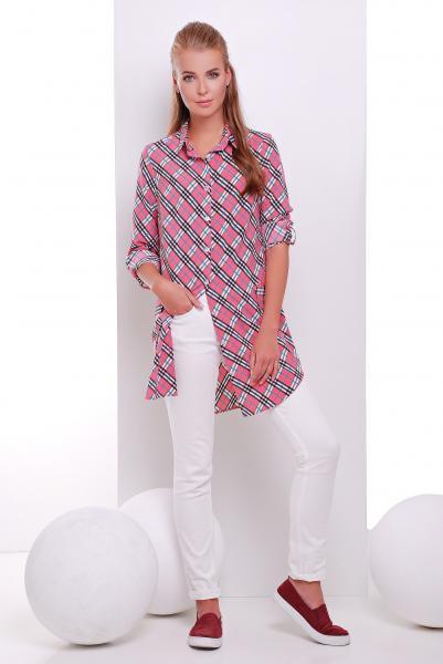 Платье -рубашка розовая в клетку  TAYLOR